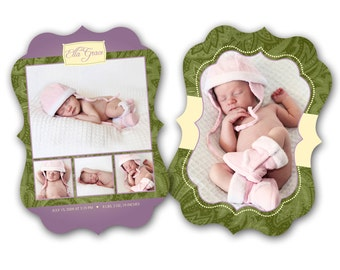INSTANT DOWNLOAD - Birth announcement photo card template, Luxe card - 0174