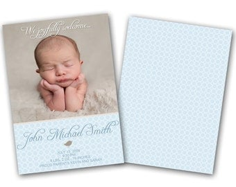 INSTANT DOWNLOAD - Birth announcement photo card template, 5x7 card - 0236