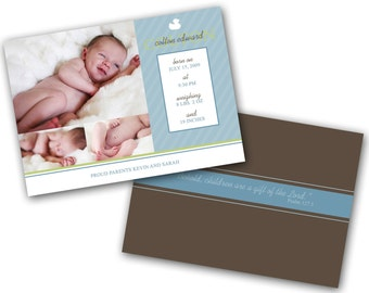 INSTANT DOWNLOAD - Birth announcement photo card template, 5x7 card - 0241
