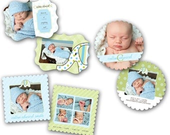 INSTANT DOWNLOAD - Birth announcement photo card templates, Luxe 3 pack - 0273-5