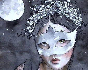 Moonlight Study. Print of an Original Ink and Watercolor Painting by Liese Chavez