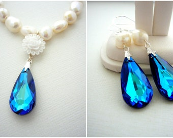 Peacock Wedding Jewelry, Bermuda Blue Bridal Earrings and Necklace Set, Statement Wedding Earring, Freshwater Pearl Necklace and Earring Set