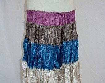 1990's SKirt Maxi Boho Tiered Ivory Blue Taupe Rose Satin Like Lace Boho Burning Man Hippie Gypsy Vintage Retro Tiered Gathered Large.