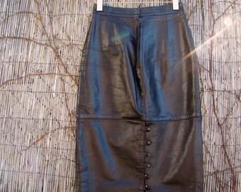 Vintage 70s / Black / Leather / Pencil Skirt / SMALL/ Medium