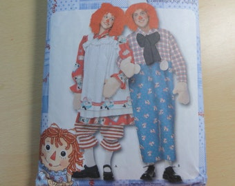 Raggedy Ann & Andy Costumes- Simplicity 9370 Sewing Pattern- Adult Size A XS-XL- Halloween Costume- Doll Costume