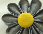 Silk Flower Brooch, Grey with Yellow Button, Wedding Lapel Pin, Boutonniere