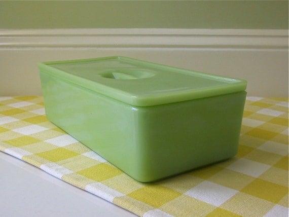 Vintage Jeanette Jadite Refrigerator Dish