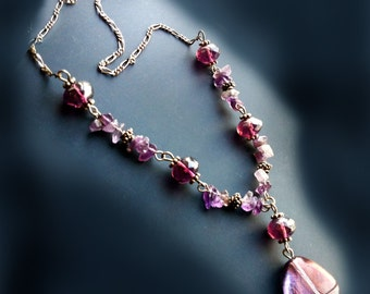Amethyst Necklace & Purple Czech Glass Necklace- 925 Sterling Silver chain - Taneesi Jewelry