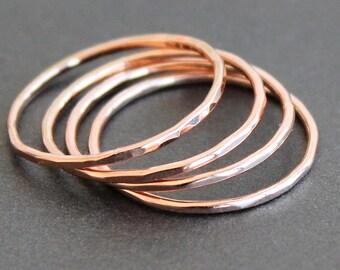 Skinny Rose Gold Filled 1mm Band (1 Ring) - Smooth, Faceted or Hammered - 18 Gauge