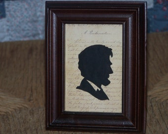 Silhouette, Abe Lincoln, hand painted, primitive, Colonial, Early American, patriotic decor, collectible, Presidential art