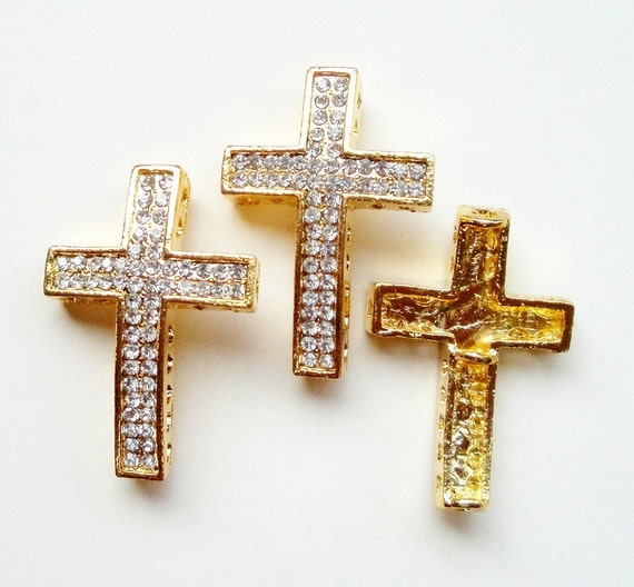Cross bracelet connector gold sideway two rows by