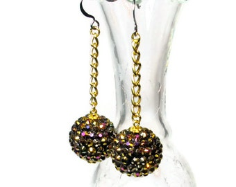 Sparkly Retro Rhinestone Rockabilly Earrings, Ball Dangle, Baubles, Black and Gold