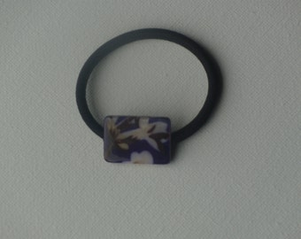 Purple & white floral rectangle bead, ponytail holder