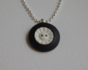 Sterling silver with black & white vintage buttons, pendant necklace, 18""