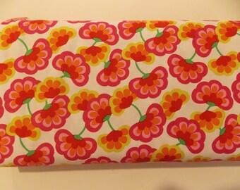 Pink orange red flower fabric Windham fabrics