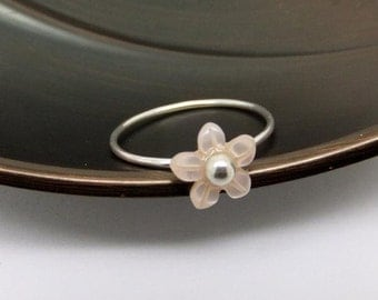 Barely There Cherry Blossom Flower Sterling Silver Ring - US0 to US12.0