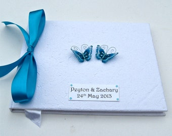 Turquoise Butterfly Wedding Guest Book