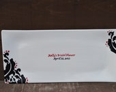 Long Rectangular Custom Signature Guestbook - Personalized Platter - Damask in Red and Black