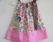 Zoo Time pillowcase dress available in sizes 0-3 mons,3-6 mons,6-9 mons,12 mons,18 mons,2T,3T and 4T