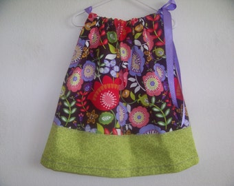 Spring Time Pillowcase dress available in sizes 0-3 mons,3-6 mons,6-9 mons, 12 mons,18 mons,2T,3T and 4T