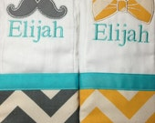 Set of 2 personalized monogrammed burp cloths teal gray yellow chevron mustache and bow tie
