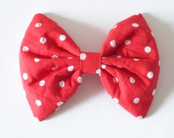 Minnie Hair Bow, Red Hair Bow Polka Dots, For Women Teens Girls