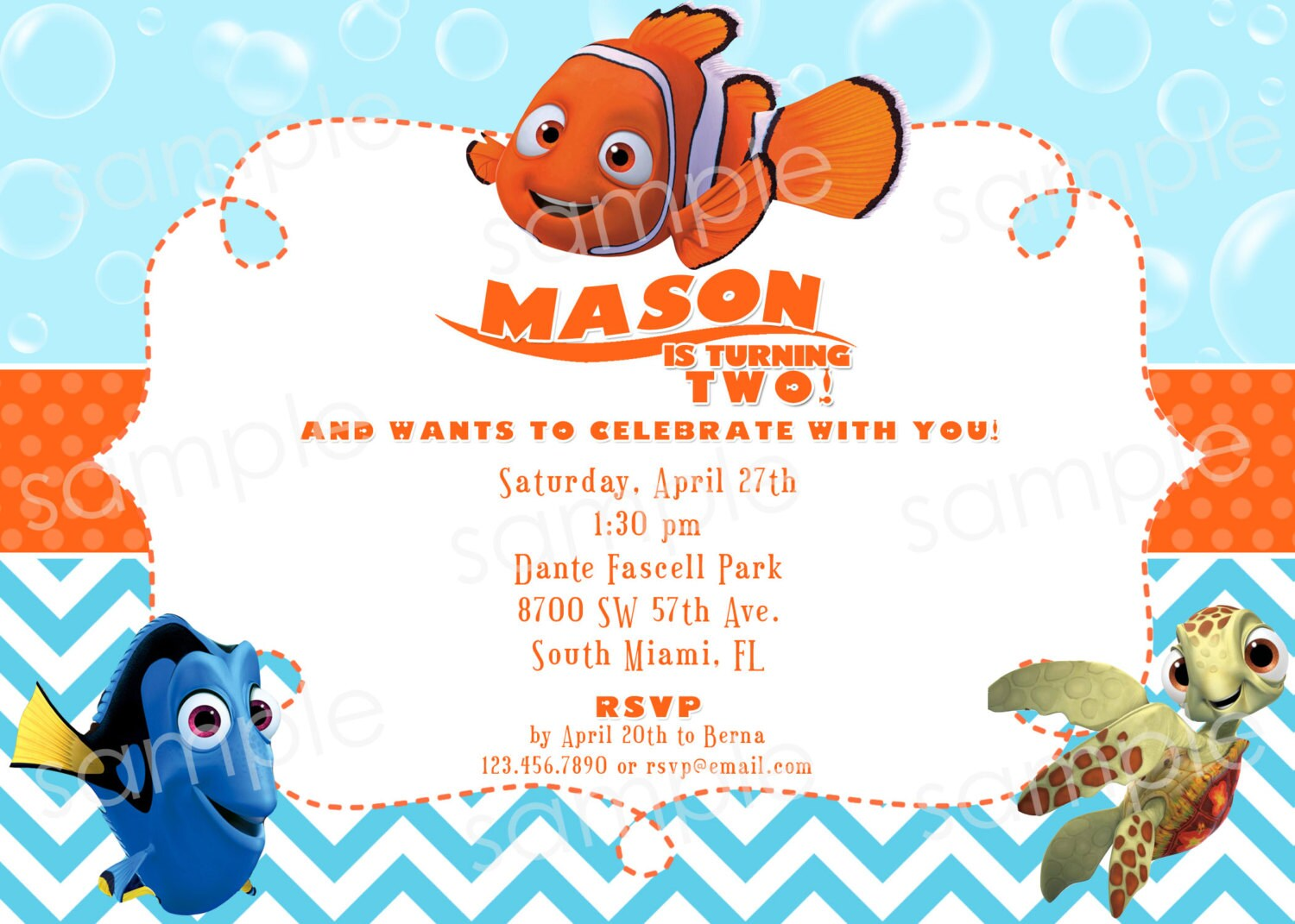 finding nemo birthday invitation diy digital by modpoddesigns