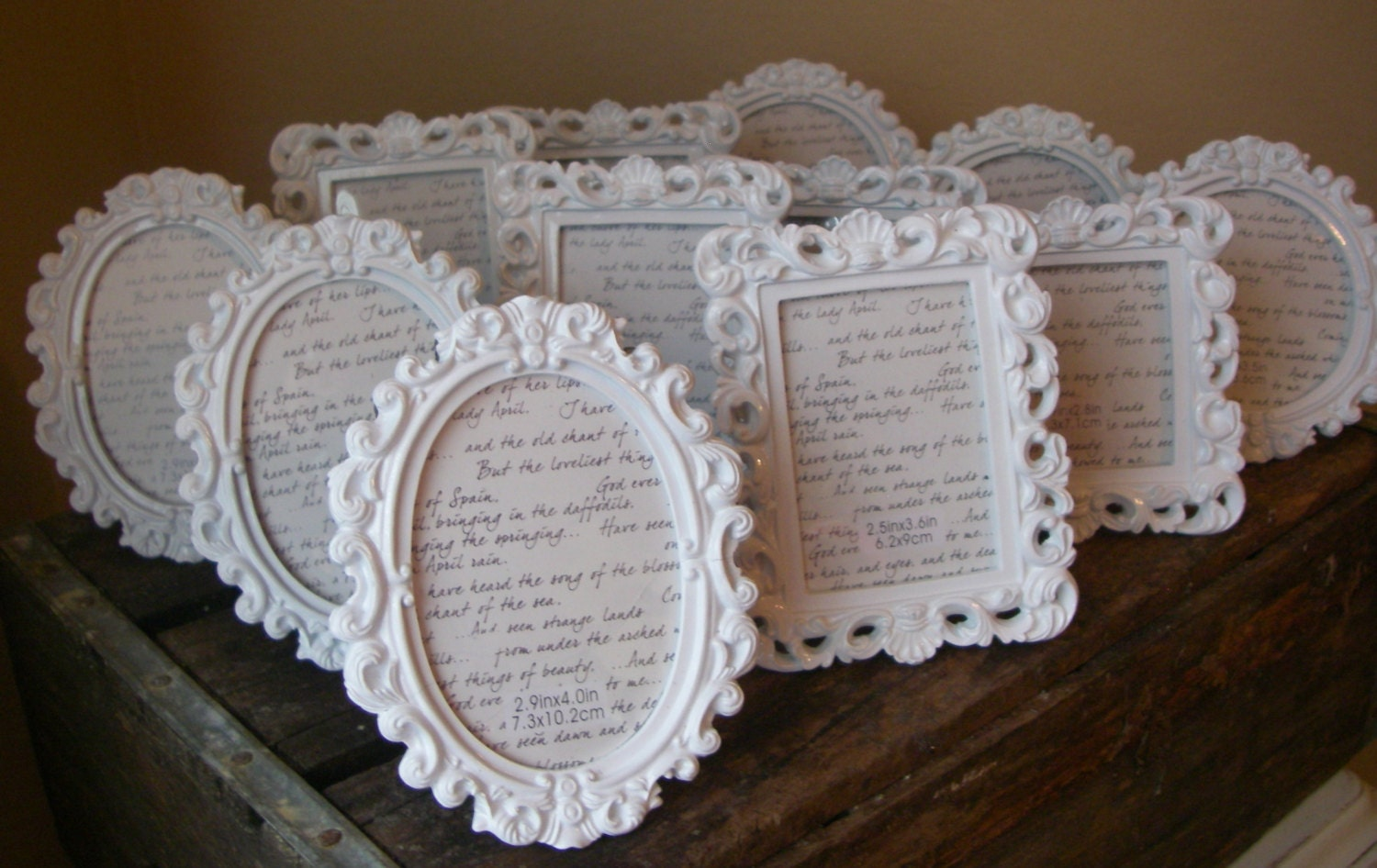 Mini Frame Square Table Numbers White Baroque By