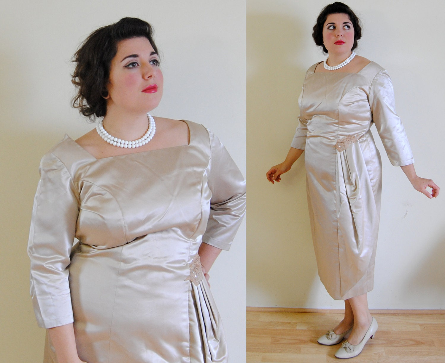 Sale plus size vintage 1950s wedding wiggle dress with pleats for 1950s style wedding dresses for sale