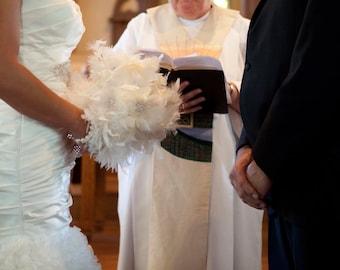 Ivory feather flower Wedding Bouquet