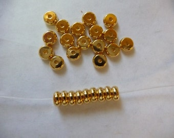 Bead, Gold Plated, Brass, 5mm, Heishi, Pkg Of 16