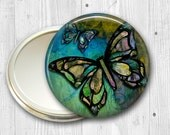 colorful butterfly pocket mirror,  original art hand mirror, mirror for purse, bridesmaid gift  MIR-317