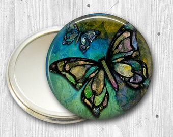 colorful butterfly pocket mirror,  original art hand mirror, mirror for purse, bridesmaid gift  MIR-317