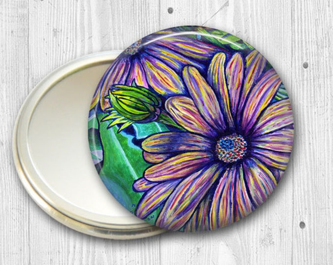 floral pocket mirror, purple daisies  hand mirror, mirror for purse, bridesmaid gift, stocking stuffer MIR-501