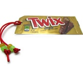 Twix Recycled/Upcycled Candy Wrapper Bookmark with Yellow Stars