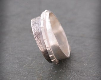 Textrued Sterling Silver Band Ring, Wedding Bands, Silver Ring