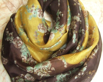 Brown/Yellow Floral Print Scarf,  Recycled Sari Pure Silk Scarf (22x68)