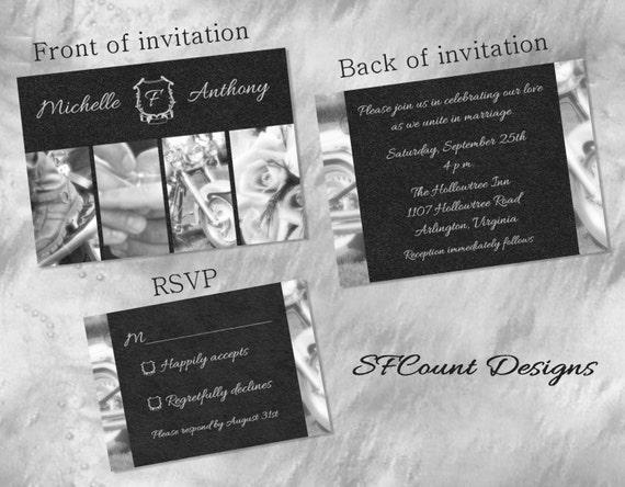 Biker Wedding Invitations: Items Similar To Black And White Photography Biker