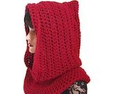 Garnet Hood Scarf, Women Scarf, Fishermans Hood, Red, Medieval, Men Scarf, Valentines Red, Snood, Winter Accessories, Winter Fashion, Cowl