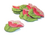 Tulip Applique, Pink Tulip Applique, Dusty Rose, 1960s Flowers, Embroidered Applique, Green, Pink, Patch, Lot of 12, Pink and Green,