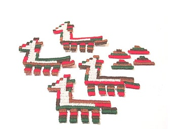 Llama Applique, Llama Patch, Southwestern, Applique, Embroidered Applique, Red, Green, Brown, Patch, Lot of 12, Tan