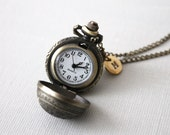 Ball Watch Necklace. ball pocket watch with personalized initial tag. round pocket watch. long pocket watch necklace. birthday gift.