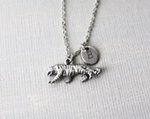 Tiger Ncklace. silver tiger necklace. personalized initial tiger necklace