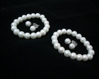 2 Flowergirl Bracelet and Pearl Stud Gifts , flowergirl gifts, weddings