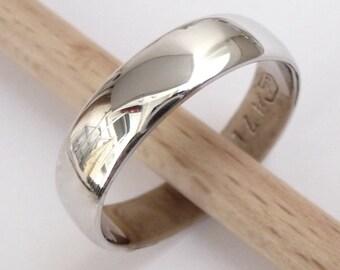 Men's white gold wedding band shiny classic wedding ring women wedding band 14k solid gold