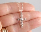 Sterling Silver Heart Detailed Filigree Cross Necklace, Christian, Faith, Religion, Religious, 1st Holy Communion,Confirmation,Christmas