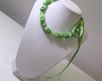 Green and White Striped Ribbon Choker Necklace - Beads and Bows Collection