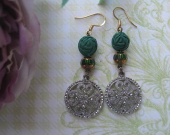 Vintage Shamrocks.vintage bead and jewelry assemblage dangle earrings