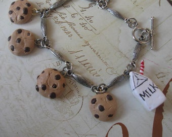 Milk and Cookies.handsculpted polymer clay faux dessert charm bracelet