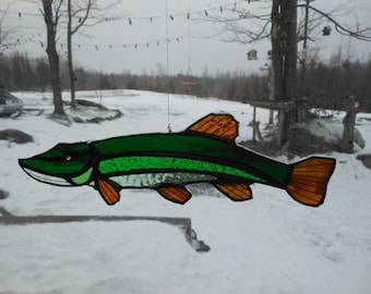 northern pike, stained glass suncatcher